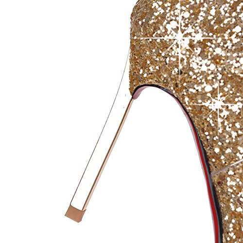 Royou Pumps High Sequins Stiletto Bling Women Pointed Toe Boots Heel Yiuoer Gold Boots Ankle wvafZqTv