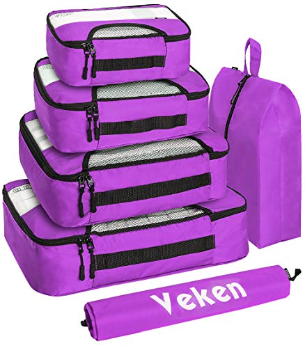 Veken 6 Set Packing Cubes, Travel Luggage Organizers with Laundry Bag & Shoe Bag, Purple, XL-Large, Large, Medium, Small