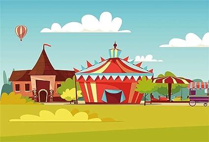 MMPTn 5x3 pies Poliéster Parque Infantil Patio Juegos Foto Telón Fondo Dibujos País Pueblo Paisaje Rayas Tienda campaña Nubes Fondo Fiesta cumpleaños Eventos Video Drape Estudio Prop Sin Arrugas: Amazon.es: Electrónica