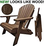 DuraWeather Classic Folding Adirondack - King Size - New Wood Grain Poly Looks Exactly Like Real Wood - Made in U.S.A - 350 lb Weight Capacity - (Antique Mahogany)