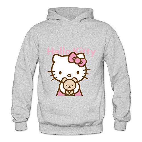 Hello Kitty Clothing For Adults (Lennakay Work Adult's Hello Kitty Hoodie With No Pocket Ash For Woman SizeXL)