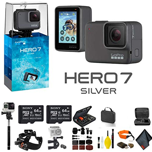 GoPro HERO7 Silver - Bundle Includes: 2 64GB Memory Cards, Case, Chest Mount, Handle Bar Mount, Selfie Stick, Floating Strap More