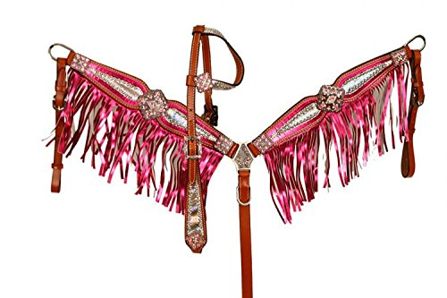 Bejeweled Collars - Showman Bejeweled Metallic Headstall and Breast Collar Set!! (Pink)
