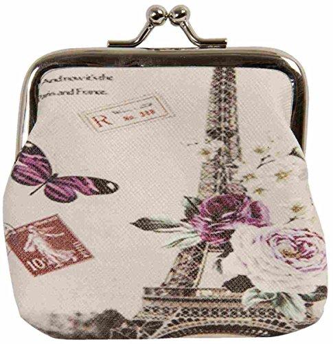 Clayre & Eef fap0096Portamonete Borsa per cosmetici Custodia Portafoglio Portamonete Farfalla Eifel torre ca. 9x 7cm