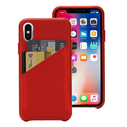 Cassenger Slim Fit Genuine Italian Leather Hard Back Case Protective Cover Snap On Case with 2 Card Holder Slots for iPhone - Genuine Italian Leather