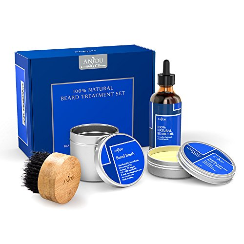 Beard Grooming Gift Kit for Men, 1x Beard Oil, 1x Beard Balm and 1x Boar Bristle Beard Brush, 100% Pure, Natural (Hair Repair and Growth - Vitamin E) from Anjou