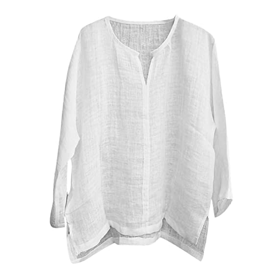 Camisa para Hombre Lino Blusa Casual de Manga 3//4 Top Sin Cuello de Color S/ólido Blusas Suelta Camisas de Trabajo Suave C/ómodo Transpirable S-2XL