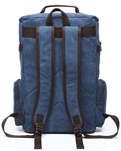 Canvas Backpack, Aidonger Vintage Canvas School Backpack Hiking Travel Rucksack Fits 15'' Laptop (Dark Blue) by Aidonger (Image #3)