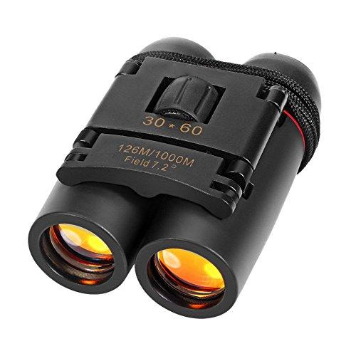 SQDeal 30 x 60 Day Night Vision Zoom Binoculars Compact Folding Waterproof Mini Portable Telescope with Free Bag (Black)