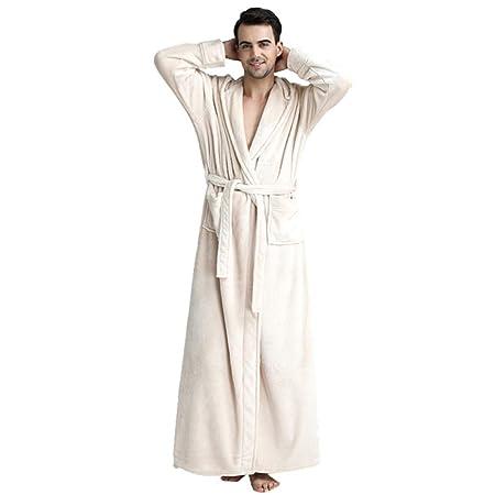 c69e1c59d4c0 Men s Hooded Full Length Fleece Bathrobe Dressing Gown Winter Warm  Sleepwear Loungewear Housecoat With Belt