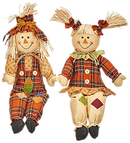 Worth Imports 24'' Sitting Scarecrow, Set of 2 by Worth Imports