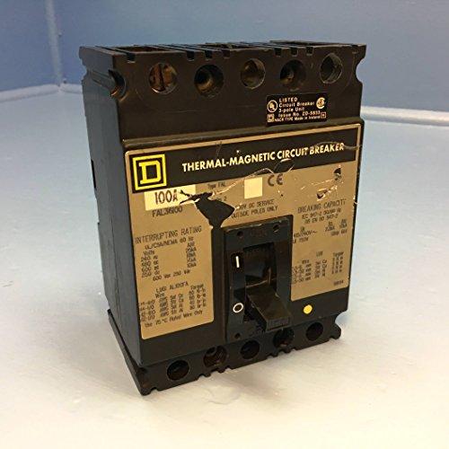 - Square D FAL36100 100A Circuit Breaker 600V 3P Type FAL-36100 100 Amp bad label