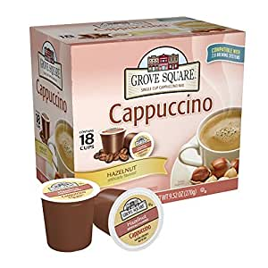 Grove Square Cappuccino, Hazelnut, 18 Single Serve Cups (Pack of 3)