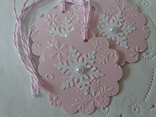 Light Pink Snowflake Embossed Scallop Circle Tags - 2