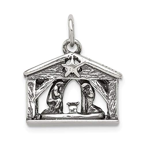925 Sterling Silver Manger Pendant Charm Necklace Holiday Fine Jewelry Gifts For Women For Her