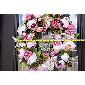 """Red Co. 16"""" Lovely Peony, Artificial Spring & Summer Wreath, Door Backdrop Ornaments, Home Décor Collection 4"""