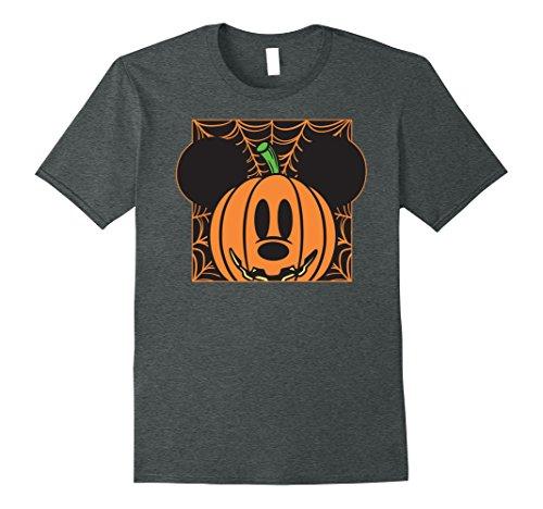Mens Disney Mickey Mouse Pumpkin Web Halloween T Shirt 3XL Dark Heather -