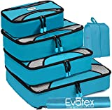Evatex Packing Cubes | Travel Packing Cubes, 6pc Set with Shoe Bag |Laundry