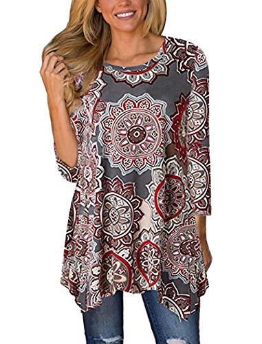 Halife Womens Floral Print 3/4 Sleeve Irregular Hem Asymmetrical Tunic Loose Long Blouse Tops