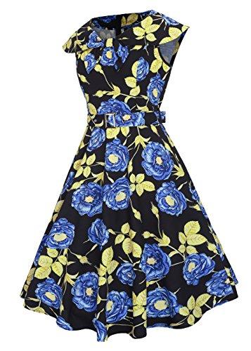 Vestido de Rockabilly del vestido del cuello del barco de los años 50 de las mujeres con la correa desprendible Hojas de oro Rosa-Azul