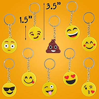 Emoji Party Favor Gift Keychains, 25 Emoji Key Chains for Kids, Key Ring Holder for Girls and Boys Prize: Toys & Games