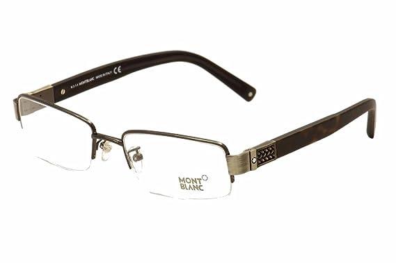 11dd7fc89d Montblanc Semi-Rimless Men s Eyeglasses MB444 008 Shiny Gunmetal Havana
