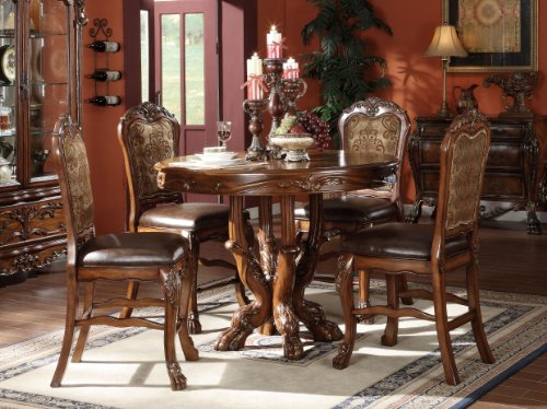 Dresden 5-Piece Counter Height Dining Set, Table/4 Chairs, Cherry Oak Finish