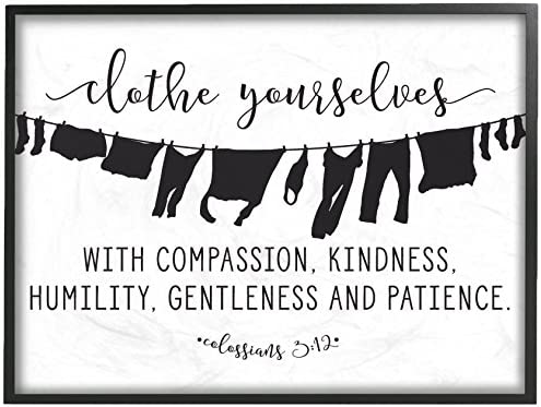 Stupell Industries Clothe YourselvesCompassion Clothesline Black Framed Wall Art 11 x 14 Multi-Color
