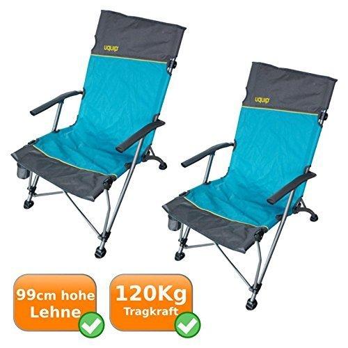 2er Set Faltbare komfortable Campingstühle im Lounge-Charakter, extra hohe Rückenlehne, ideal fürs Camping, bei Outdooraktivitäten, als Angelstuhl oder für Festivals, 120Kg Traglast, blau-silber