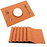 U'Artlines Placemat, Crossweave Woven Vinyl Non-Slip Insulation Placemat Washable Table Mats Set (8pcs Placemats, Orange)