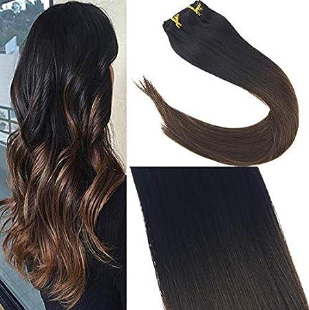 Sunny 45 cm Balayage Extension Capelli Veri Nero Naturale con Marrone Medio Extension dei Capelli Veri Clip 120g Capelli Naturali Brasiliana Human Hair Ltd