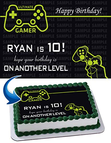 Gamer Cake Topper Personalized Birthday 1/4 Sheet Decoration Custom Sheet Party Birthday Sugar Frosting Transfer Fondant Image ~ Best Quality Edible Image for cake ()