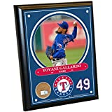 "Steiner Sports MLB Texas Rangers Yovani Gallardo Plaque with Game Used Dirt from Globe Life Park in Arlington, 8"" x 10"", Navy"