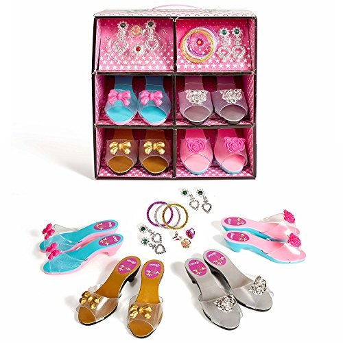 Super star 19 piece Dress up Shoes and Jewelry set - Fashion Girl Princess Dress Up and Role Play Collection Shoe set and Jewelry Boutique