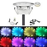 1W RGB LED Deck Lighting Kit, 20x QACA 30Lm Outdoor Step Lights for Garden Patio Recessed Underground Step Stairs Low Voltage LED Lamps DC 12V Stainless Steel Waterproof IP67
