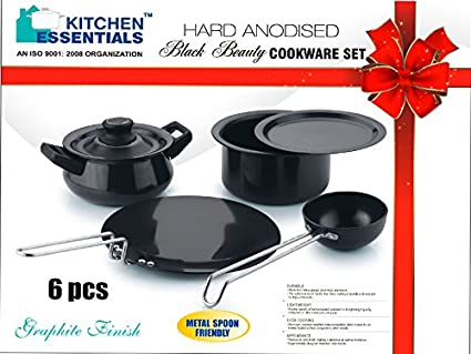 Buy Kitchen Essentials Hard Anodised 6 Pc Black Beauty Cookware