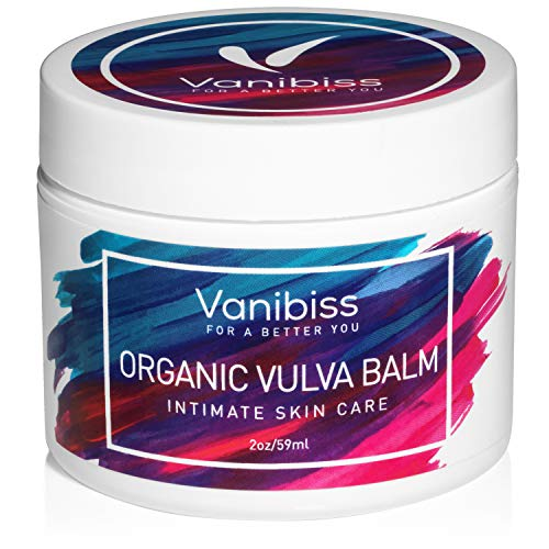 Organic Vulva Balm Cream, Vaginal Moisturizer, Intimate Skin Care, Menopause Support and Relief by Vanibiss - Dryness, Itching, Burning, Redness, Chafing, Odor, Irritation - Estrogen Free (2 Ounces)