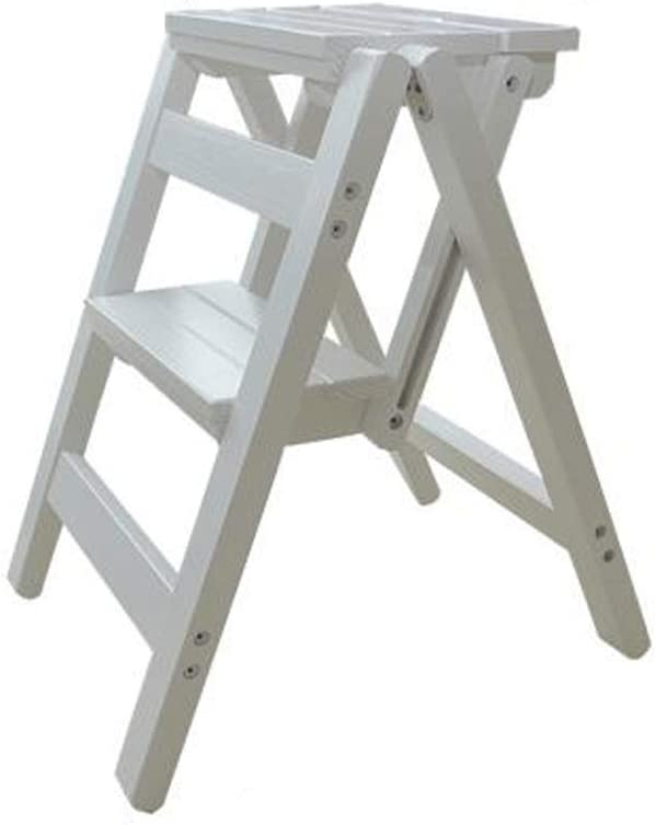 WCS Escalera plegable de madera maciza Taburete Escalera multifuncional para uso doméstico Escalera para escaleras de doble uso IKEA Escalera móvil de tres o cuatro pasos Escalera móvil Blanco 38 × 45: