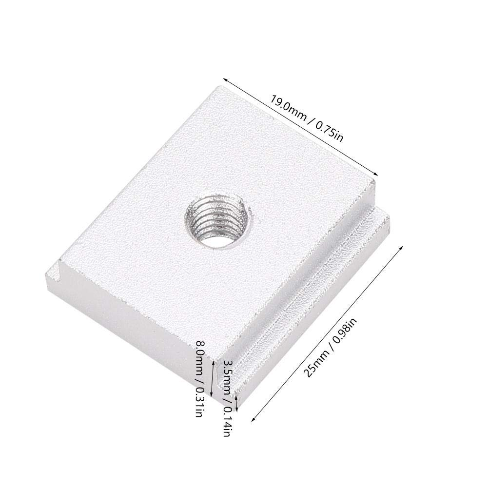 Liukouu 2 piezas Aleaci/ón de aluminio 25 23 8 mm Bloque deslizante M6 M8 Rosca T-Slider para 30//45 Ranura deslizante