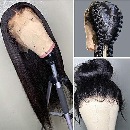 Human Hair Lace Front Wigs, VIPbeauty 130% Density Glueless Brazilian Virgin Straight Human Hair Lace Frontal Wig for Black Women with Pre Plucked Baby Hair(14 Inch, Nature Color)