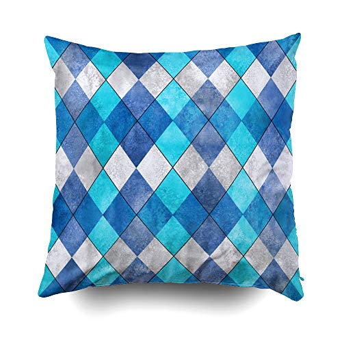 otton Square Pillow Case Covers with Zippered Closing for Home Sofa Decor Size 16X16 inch Costom Pillowcse Throw Cover Cushion Argyle Plaid Pattern Watercolor Hand Drawn Gray ()