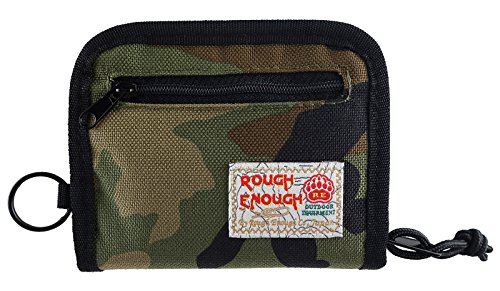 Rough Enough Prime Cordura Soft Nylon Full Zippered Sports Outdoor Short Basics Fashion Fancy Small Portable Bi-fold Secure Coin Neck Pouch Wallet Purse Case Credit Card Holder Organizer with Key Ring
