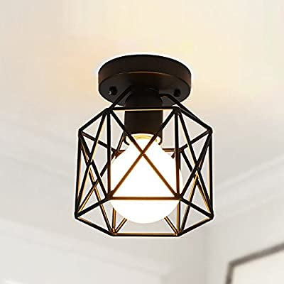 YANCEN Semi Flush Mount Ceiling Light Industrial Mini Edison Pendant Light Retro Vintage Metal Square Black Cage Ceiling Lamp Fixture for Hallway Living Room Bedroom Dining Room