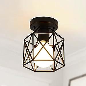 RUXUE Industrial Pendant Light Vintage Square Cage Semi Flush Mount Ceiling Light Chandelier Black