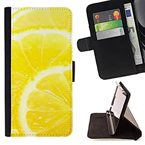 - Fruit Macro Lemon - - Monedero PU titular de la tarjeta de cr????dito de cuero cubierta de la caja de la bolsa FOR Apple Iphone 6 RetroCandy