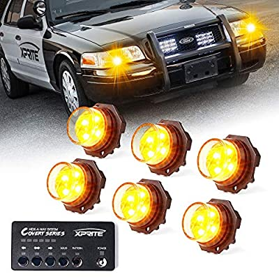 Xprite 6 Series Amber Yellow LED Hideaway Strobe Lights Kit 20 Flash Patterns Hazard Warning Light for Trucks, Police Cars, Emergency Vehicles: Automotive
