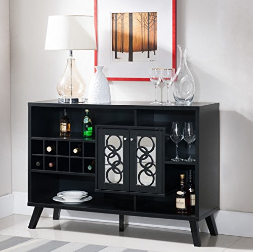Liquor Storage Cabinet Buffet Server with Glass Doors Large in Cappuccino - Great for Storage of Your Favorite Bottles of Wine, Liquors, Glassware and Drinking Accessories