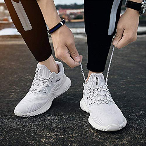 Yying Scarpe da Corsa da Uomo Sneakers Casual da Donna Sneakers Traspiranti Scarpe da Trekking Scarpe da Passeggio per Maglie Scarpe da Esterno Bianca
