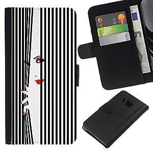 WINCASE ( NO PARA HTC ONE MINI M4) Cuadro Funda Voltear Cuero Ranura Tarjetas TPU Carcasas Protectora Cover Case Para HTC One M7 - Labios de la mujer uñas rojo negro blanco