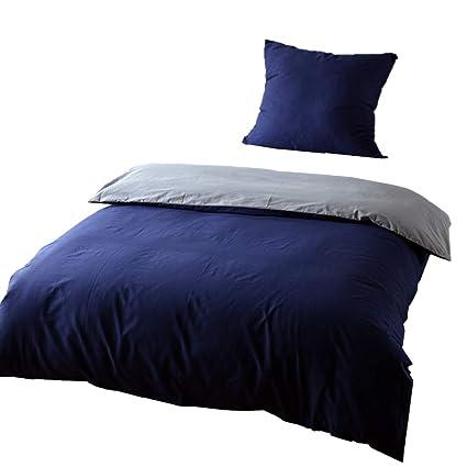 Keayoo Bettwäsche 155x220 Baumwolle Blau Grau 100 Bettbezug Mit